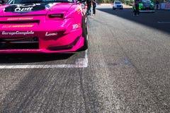 武里喃府泰国 赛跑在轨道的赛车 免版税库存照片
