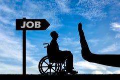 歧视的概念在人的就业的以伤残 库存照片