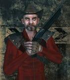 歹徒以枪和伤痕 向量例证