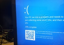 死亡微软视窗10蓝色屏幕  库存照片