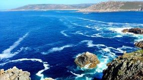 死亡海岸地带西北伊比利亚半岛加利西亚西班牙海岸路的Coruña Finisterre末端 库存照片