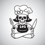 死的夫人Skull Chef与叉子、Knive和帽子的Logo Grinning 得出花卉草向量的背景 库存图片