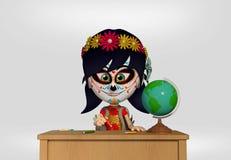 死者的天,作为墨西哥头骨打扮的女孩 3d动画片 向量例证