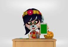 死者的天,作为墨西哥头骨打扮的女孩 3d动画片 皇族释放例证