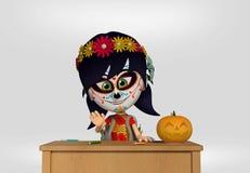 死者的天,作为墨西哥头骨打扮的女孩 3d动画片 库存例证