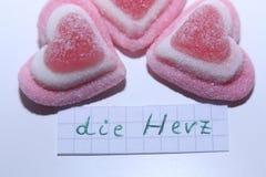 死赫日词用心脏的德语用英语 库存图片