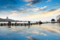 残光的Hangzhou西方湖 库存照片