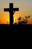 残光耶稣受难象 库存照片