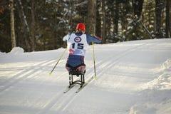 残奥越野滑雪竟赛者 免版税库存照片