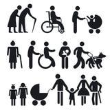 残疾人和前辈 库存照片