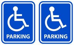 残疾停车处标志蓝色颜色象 皇族释放例证