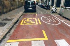 残疾停车处签到巴塞罗那西班牙 免版税图库摄影