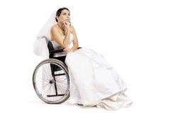 残疾新娘 免版税库存照片