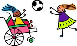 残疾足球女孩 库存例证