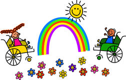 残疾轮椅孩子 免版税库存图片