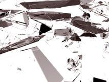 残破或被打碎的透明玻璃片断  库存例证