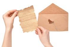 残破的信包开放密封 库存图片