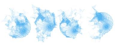残破的多角形Wireframe球形 形成几何 线圈子网络多角形  免版税库存图片