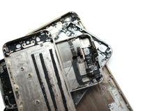 残破的屏幕裂缝电话 在白色背景的黑智能手机 孤立 图库摄影