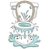残破的溢出的阻塞的洗手间动画片 免版税库存图片
