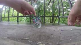 残破的玻璃裂片在阳台的 影视素材