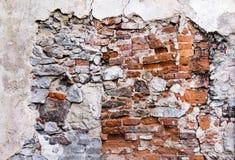 残破的红砖墙壁纹理  库存照片