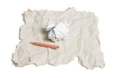 残破的纸张铅笔浪费 库存照片