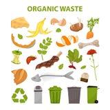 残破的肉的汇集 没有食品废弃部 设置残羹剩饭 有机废料的例证,零废题材和现代 库存图片