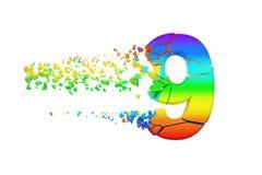 残破的被打碎的呈虹彩字母表第9 被击碎的彩虹字体 3d在空白背景回报查出 向量例证