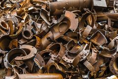 残破的金属垃圾冶金学fabrik在Arbed卢森堡中 免版税图库摄影