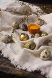 残破的鸡卵黄质在蛋壳怂恿和几鸡和 库存照片
