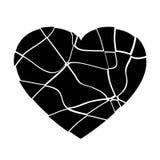 残破的黑心脏传染媒介 库存照片