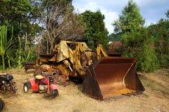残破的makro停车处的图象在开放仓库背景中 免版税图库摄影