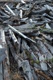 残骸,木残骸 回收木头 免版税库存图片