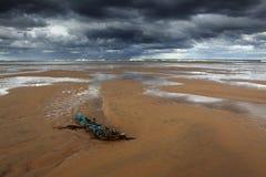 残骸, balmedie海滩 库存图片