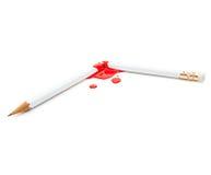 残破和血淋淋的铅笔 库存照片