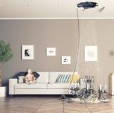 残破的天花板在屋子里 库存照片