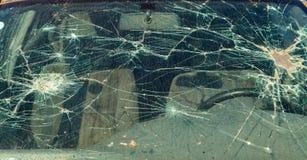 残破的挡风玻璃 库存照片