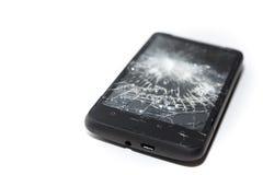 残破的智能手机关闭,被打碎的屏幕 图库摄影