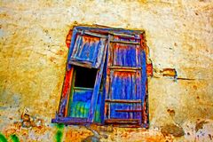 残破的木窗口快门数字式绘画  免版税库存照片