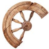 残破的木葡萄酒手纺车 库存图片