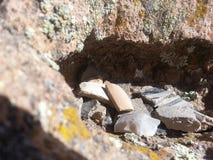 残破的瓦器Tsankawe新墨西哥 库存图片