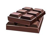 残破的瓦片半黑巧克力 从恶豆的甜点心 可可浆 自然春药 向量 库存图片