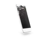 残破的白色手机屏幕,侧视图,被隔绝,裁减路线 免版税库存照片