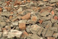 残破的砖和建筑垃圾 库存照片