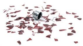残破的红灯电灯泡 库存图片