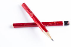 残破的红色铅笔 免版税库存图片