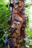 残破的老手机被钉牢对树 免版税图库摄影