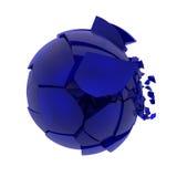 残破的蓝色玻璃球 图库摄影