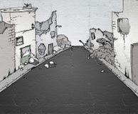 残破的街道 库存例证